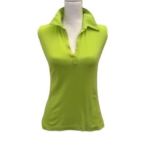 Majestic Paris collared cotton top in chartreuse